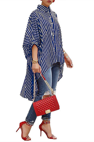 Roaso Casual Striped Asymmetrical Blouses