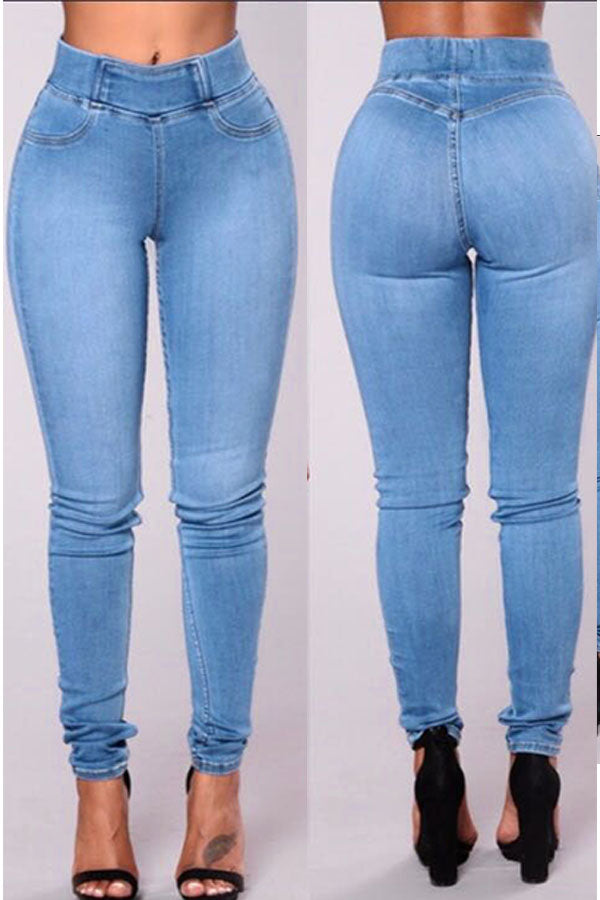 Roaso  Casual High Waist Baby Blue Jeans