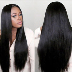 Roaso Euramerican Natural Looking Straight Long Black Wigs