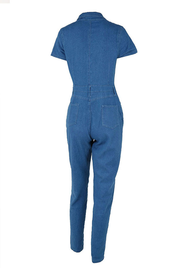 Roaso Fashion Turndown Collar Buttons Denim One-piece Jumpsuits