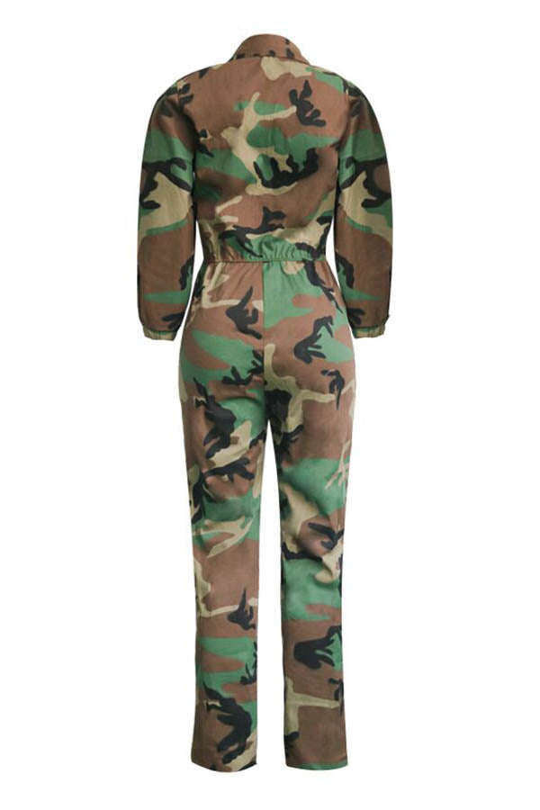 Roaso Euramerican Patchwork Camouflage Printed One-piece Jumpsuit