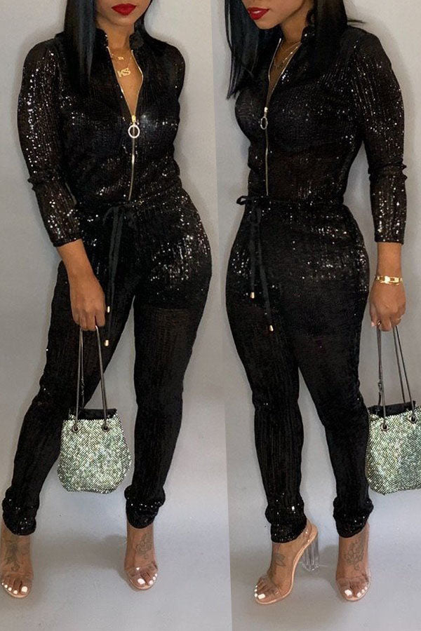 Roaso Trendy Zipper Design Jumpsuit