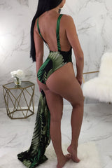 Roaso Sexy Printed Blackish One-piece Swimwears (With Cover-Ups)