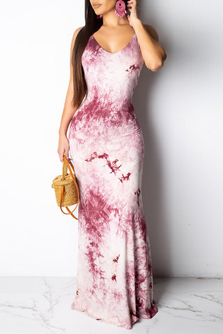 Roaso Sweet Backless Floor Length Printed Dress