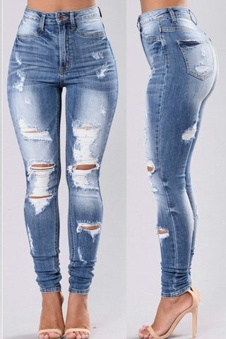Roaso Stylish High Waist Broken Holes Jeans