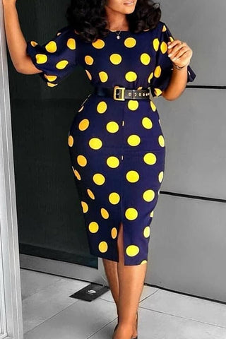 Roaso Work Dots Printed Knee Length Dress(With Elastic)
