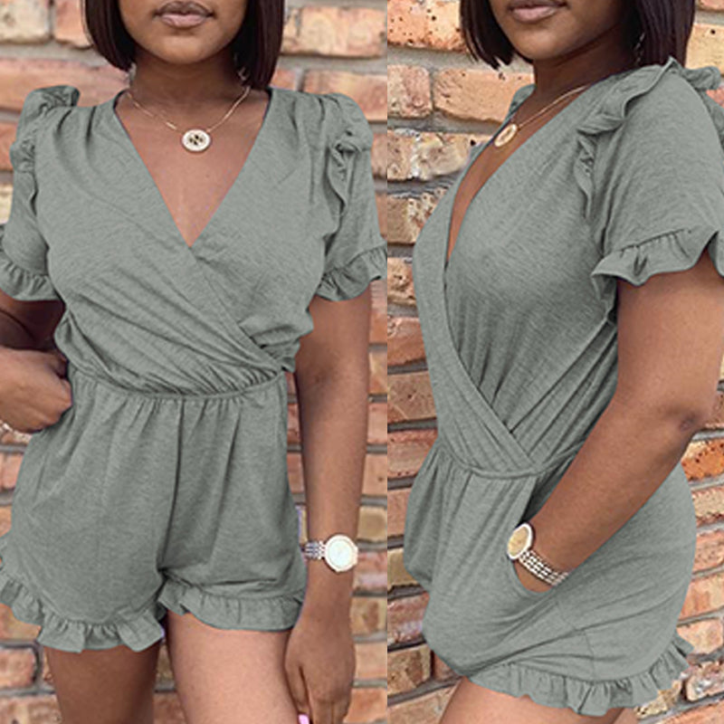 Roaso Casual Ruffle Design One-piece Romper
