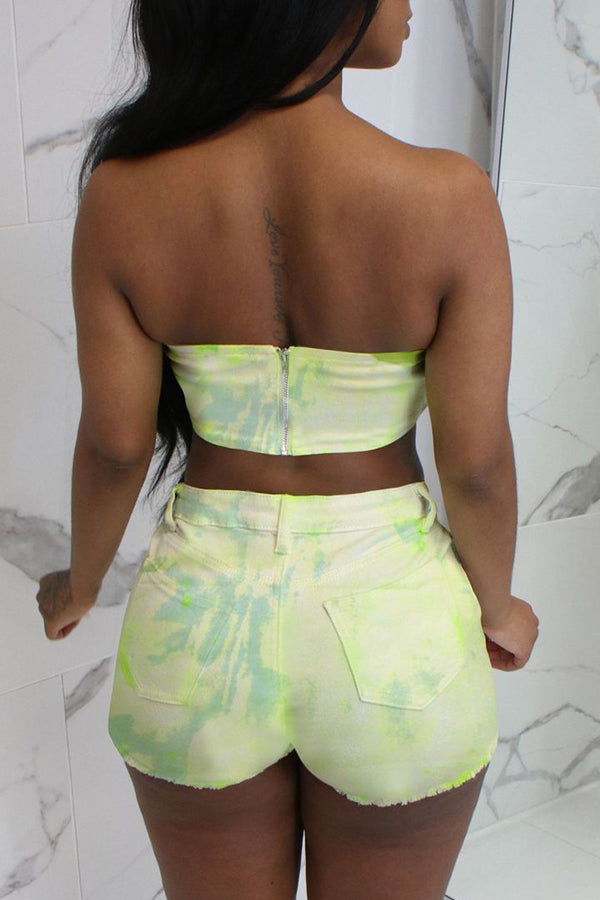 Roaso Tie-Dye Printed Two-piece Shorts Set