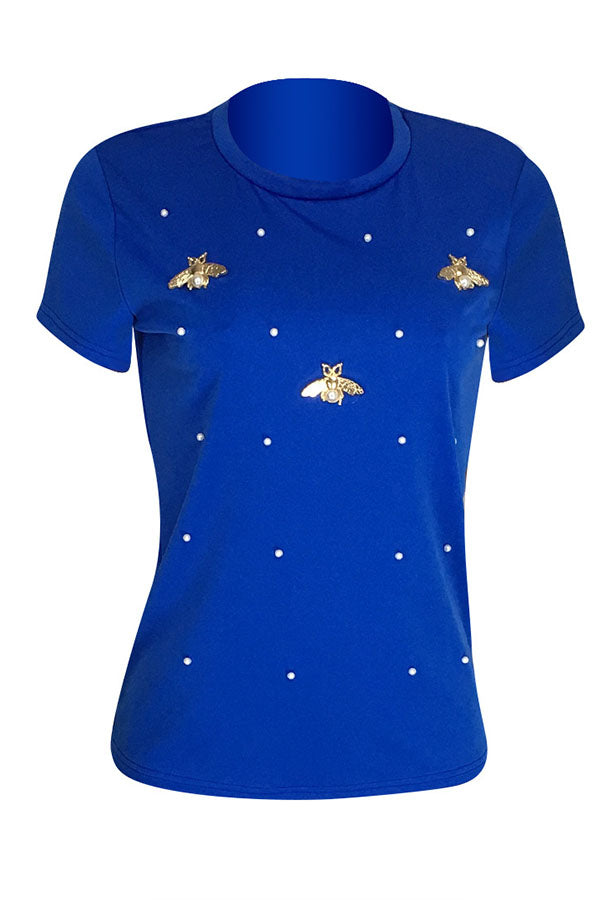 Roaso Leisure Pearls Decoration T-shirt