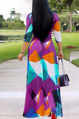 Roaso Sweet Color Block Patchwork Floor Length Dress