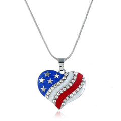 Roaso Independence Day Fashion Patchwork Rhinestone Decoration Alloy Necklace
