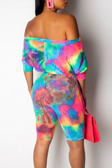 Roaso Casual Off The Shoulder Tie-dye Printed Romper