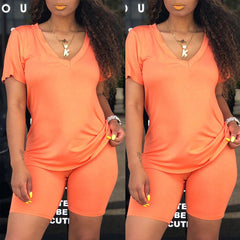 Roaso Casual V Neck Two-piece Shorts Set
