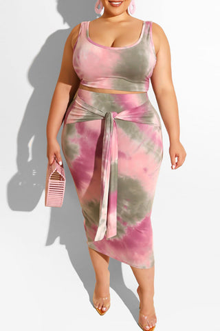 Roaso Casual Tie-dye Pink Plus Size Two-piece Skirt Set