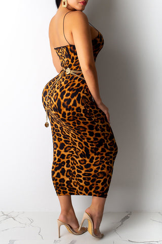 Roaso Sexy Spaghetti Straps Leopard Printed Ankle Length Dress(Without Accessories)