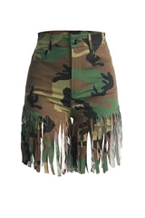 Roaso Street Camouflage Printed Tassel Design Shorts