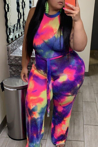 Roaso Leisure Tie-dye Multicolor Plus Size One-piece Jumpsuit