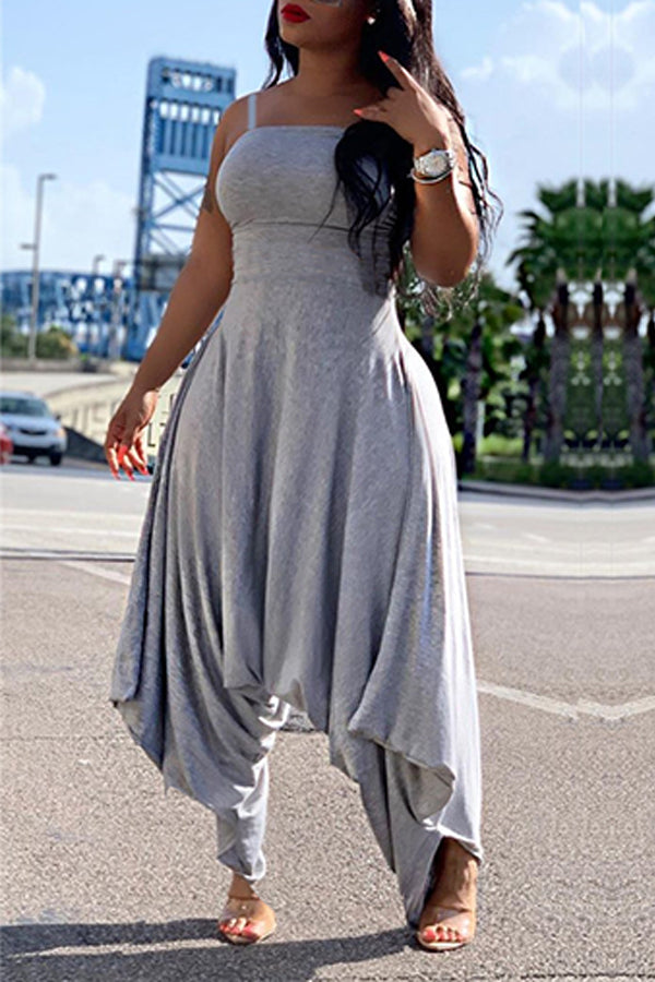 Roaso Trendy Loose Grey One-piece Jumpsuit