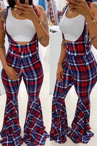 Roaso Casual Plaid Printed Multicolor One-piece Jumpsuit