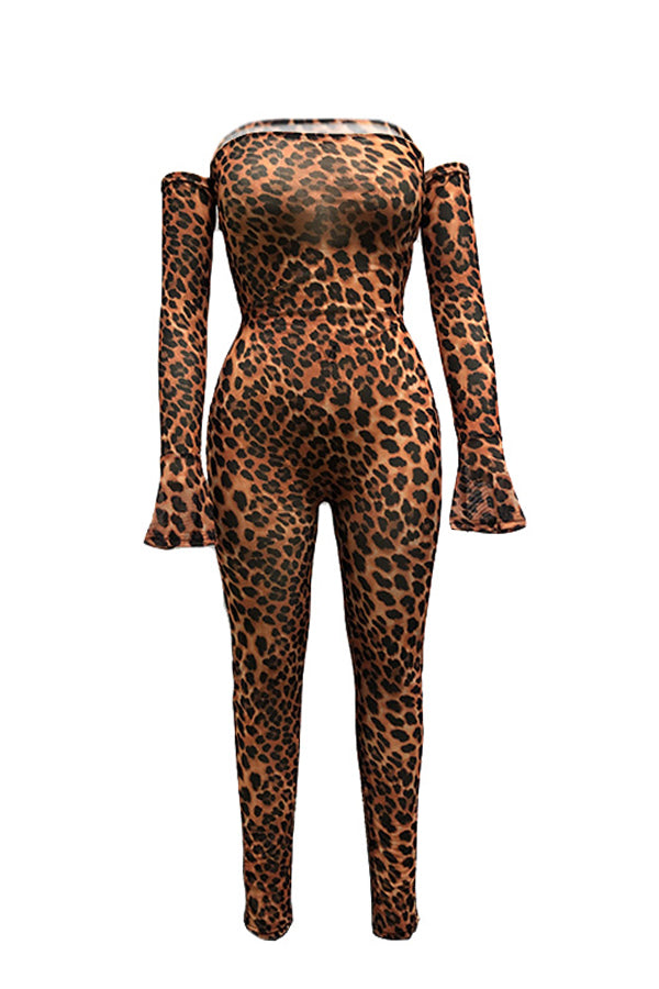 Roaso Sexy Leopard Printed One-piece Jumpsuit