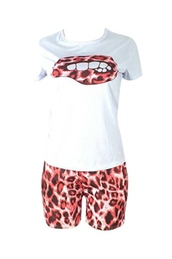 Roaso Casual Printed Red Two-piece Shorts Set