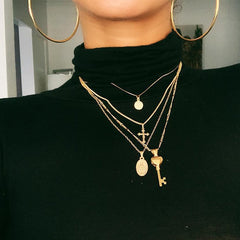 Roaso Trendy Layered Gold Necklace