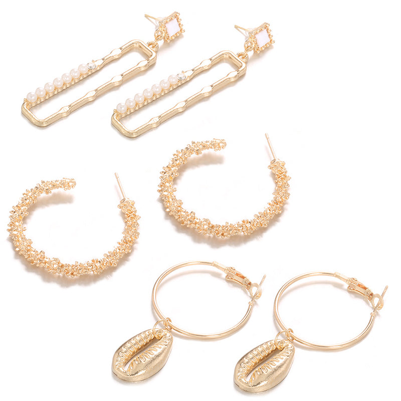 Roaso Chic Three-piece Gold Earring