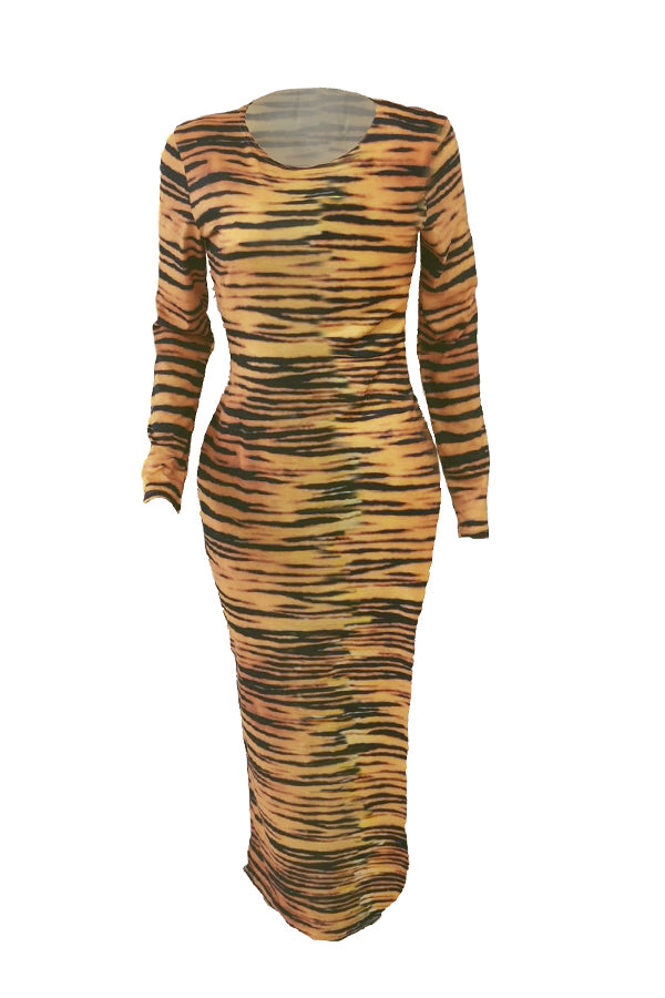 Roaso Casual O Neck Zebra Stripe Printed Ankle Length Dress