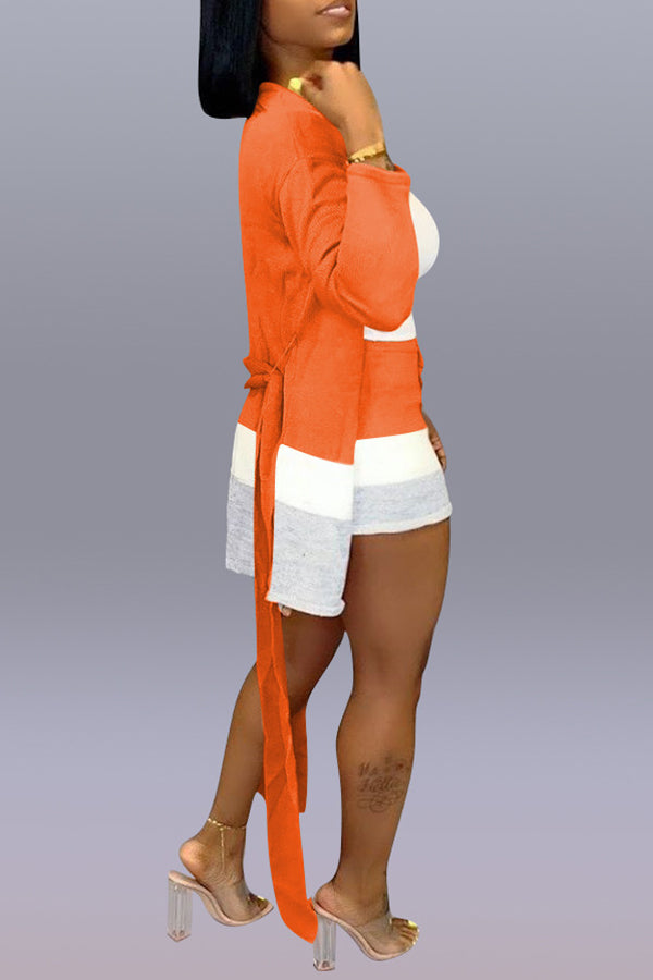 Roaso Casual Patchwork Apricot Two-piece Shorts Set(Without Tank Top)