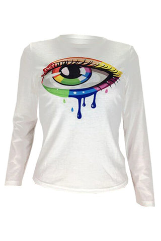 Roaso Casual Eye Printed White T-shirt
