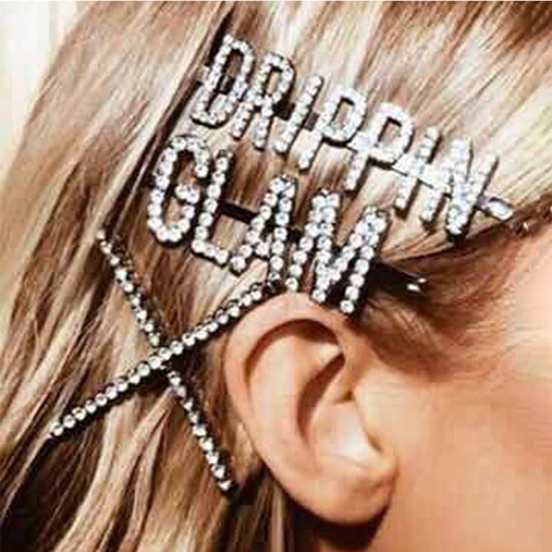 Roaso Chic Letter Printed Silver Hairpin