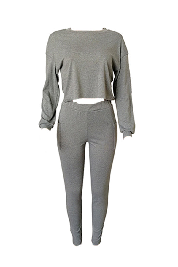 Roaso Casual Basic Grey Two-piece Pants Set