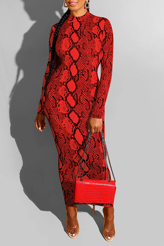 Roaso Casual Snakeskin Printed Red Ankle Length Dress