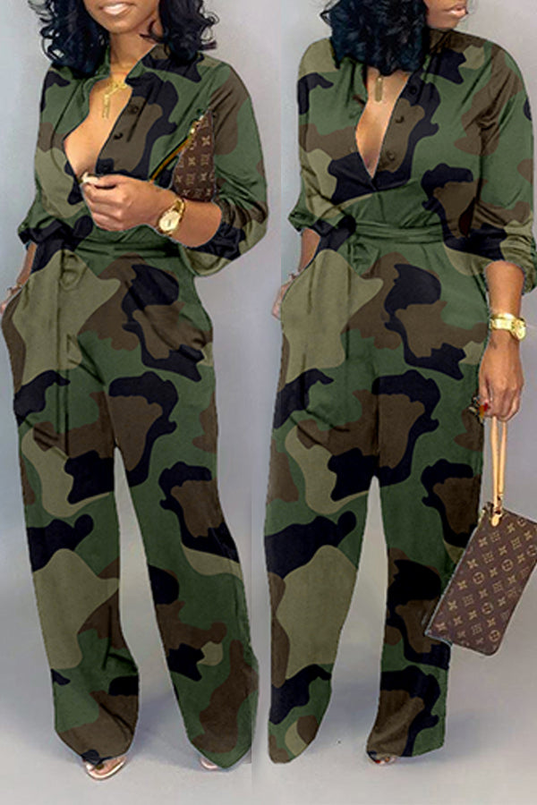Roaso Casual Camouflage Printed Army Green One-piece Jumpsuit