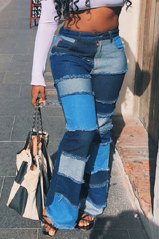 Roaso Stylish Patchwork Blue Jeans