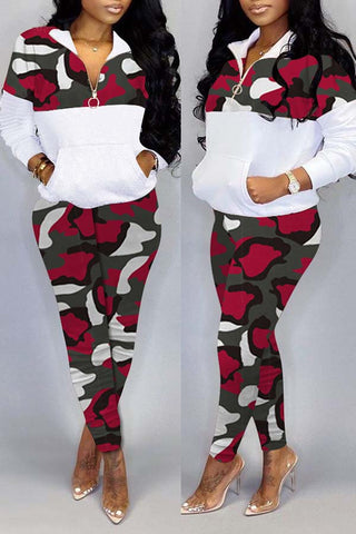Roaso Trendy Camo Patchwork Red Two-piece Pants Set