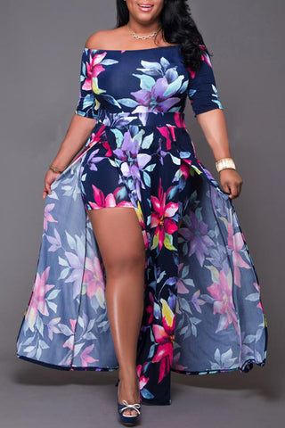 Roaso Chic Floral Print Deep Blue Ankle Length Plus Size Dress