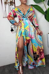 Roaso Bohemian Print Multicolor Maxi Dress