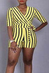 Roaso Casual Striped Print Yellow One-piece Romper