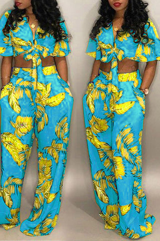 Roaso Chic Floral Print Baby Blue Two-piece Pants Set