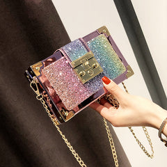 Roaso Chic Patchwork Gold Crossbody Bag