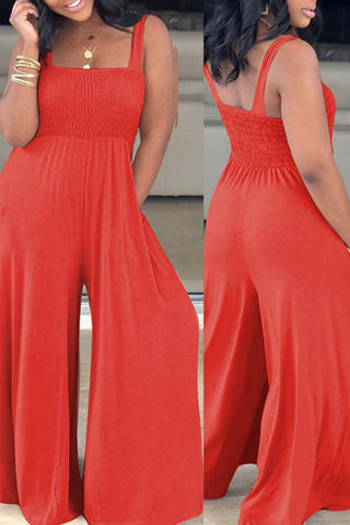 roaso Casual Loose Red Plus Size One-piece Jumpsuit