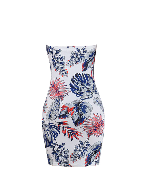Roaso  Sexy Bateau Neck Off The Shoulder Leaf printed Sheath Mini Dresses - ROASO