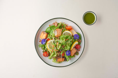 Grilled Salmon Salad with Homemade Pesto Dressing