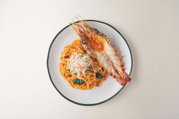 Tom-Yam Spaghetti with Grilled River Prawn