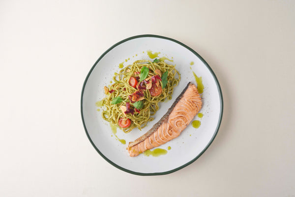 Spicy Pesto Spaghetti with Grilled Salmon
