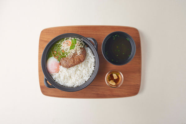 Rice with Beef Hamburg, Bazil Sauce and Onzen Egg