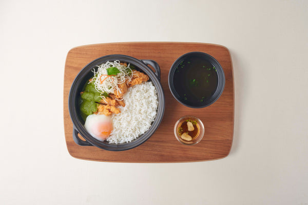 Rice with Crispy Chicken, Basil Sauce and Onzen Egg