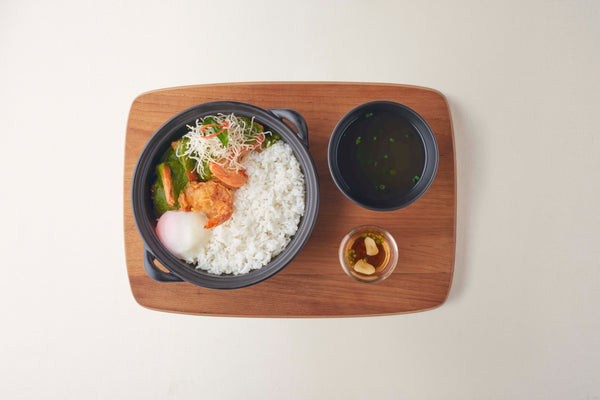 Rice with Fried Shrimp, Basil Sauce and Onzen Egg