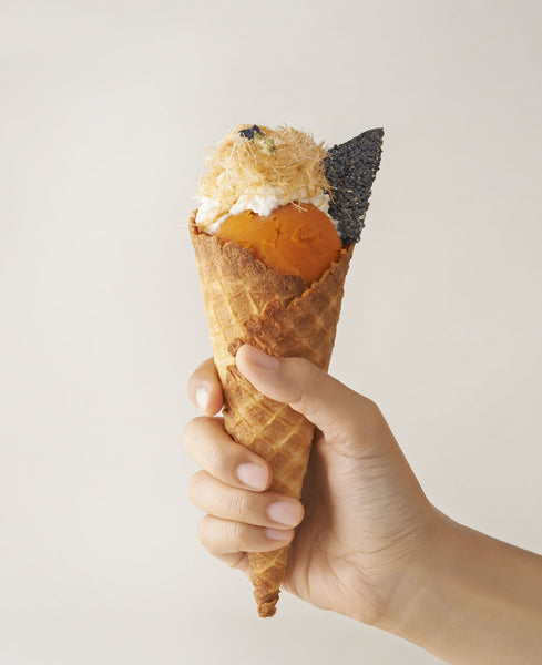 Thai Tea Ice Cream Crispy on Waffle Cone